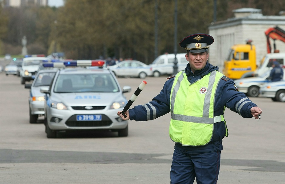 - Russia. St. Petersburg. Police. Inspector of traffic police. Inspector of traffic police. Law enforcement officer. Traffic police (traffic police).Traffic police car.