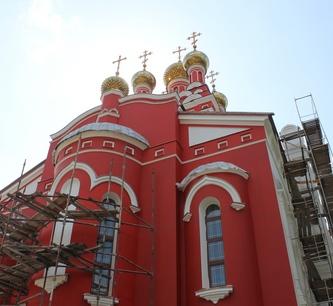 О ходе строительных работ в Пантелеимновском храме