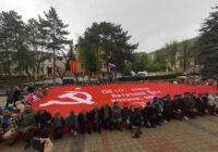 Увеличенная копия Знамени Победы прибыла в Пятигорск